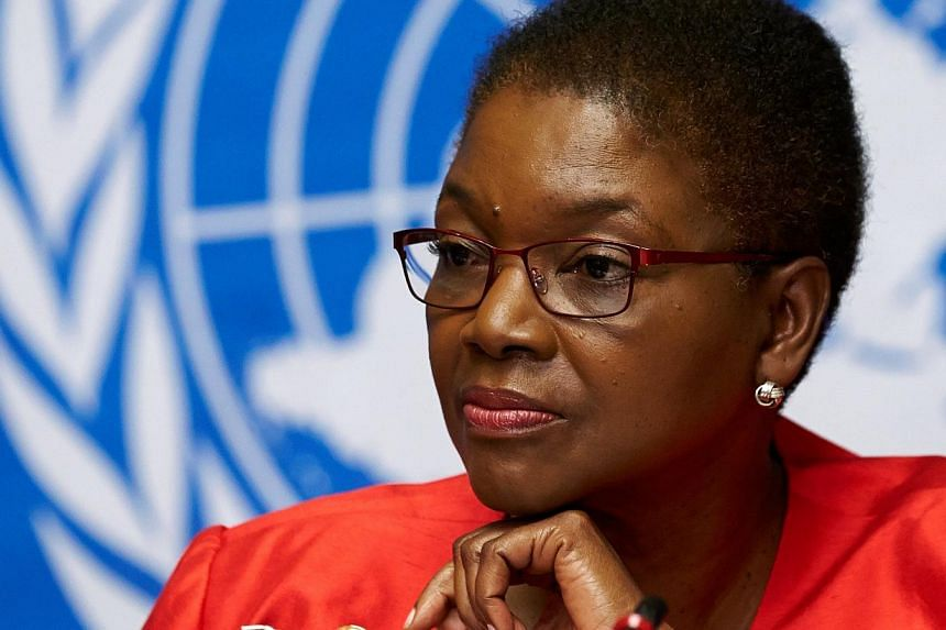 UN humanitarian chief Valerie Amos pauses during a news conference on Ebola at the United Nations in Geneva in this file photo from Sept 16, 2014. Amos plans to step down at the end of March after more than four years in the position, UN Secretary-Ge