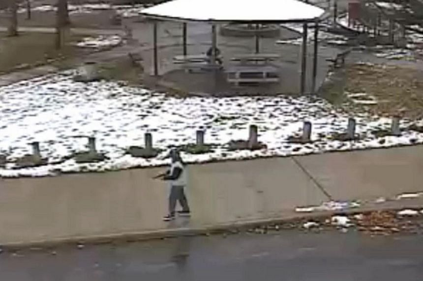 A screengrab from a surveillance video released by the Cleveland Police Department on Nov 26, 2014 shows Tamir Rice, the 12-year-old boy who was shot by a Cleveland police officer on Nov 22, 2014 at a recreation centre. -- PHOTO: AFP