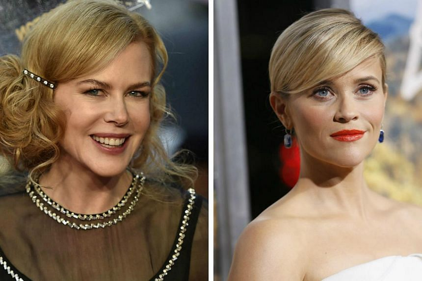 Hollywood A-listers Nicole Kidman and Reese Witherspoon are working with award-winning TV producer David E. Kelley on a limited series bound for a cable or streaming network. -- PHOTO: REUTERS