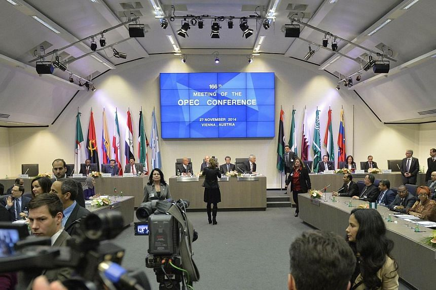A general view shows the166th ordinary meeting of the Organisation of the Petroleum Exporting Countries, Opec, at their headquarters in Vienna, Austria on Nov 27, 2014. Opec decided here Thursday to maintain its oil output ceiling, Kuwait's oil