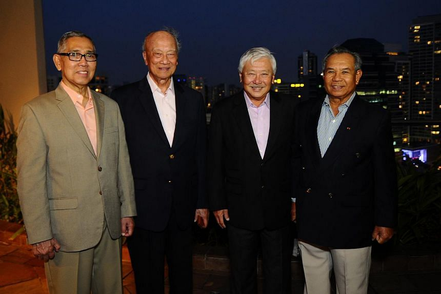 Pinnacle Club members (from left) former Indonesian vice-president Try Sutrisno, Malaysian General (Ret) Hashim Mohd Ali, Lieutenant-General (Ret) Winston Choo and Bruneian General (Ret) Pehin Mohammad Hj Daud at the Four Seasons Hotel on Feb 11, 201