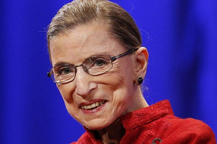 US Supreme Court Justice Ruth Bader Ginsburg, 81, (above) underwent a heart procedure on Wednesday to open a blocked coronary artery after experiencing discomfort while exercising, a spokeswoman said. -- PHOTO: REUTERS