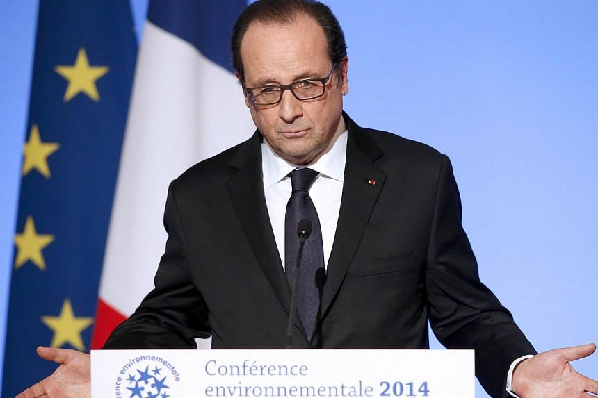 French President Francois Hollande delivers a speech at a two-day environmental conference on Nov 27, 2014 in Paris. Unemployment in France hit a new record in October, statistics showed on Thursday. In a mid-term interview earlier this month, Hollan