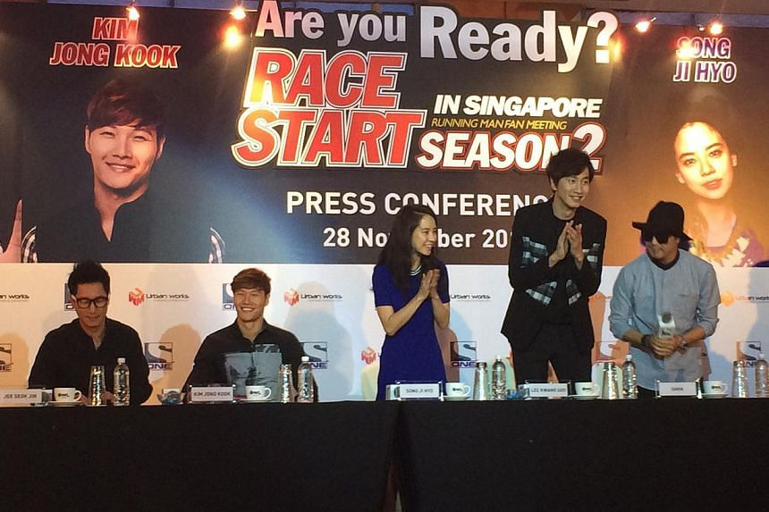 Cast members of popular Korean variety show Running Man, (from left) Jee Seok Jin, Kim Jong Kook, Song Ji Hyo, Lee Kwang Soo and Haha (Ha Dong Hoon), at a media conference held prior to a fan meeting in Singapore. -- ST PHOTO: MELISSA HENG
