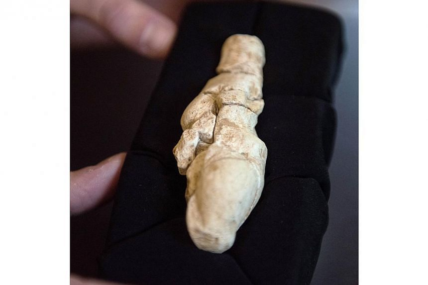 """A limestone statuette of a shapely woman some 23,000 years old (above) has been discovered in northern France in what archaeologists on Thursday described as an """"exceptional"""" find. -- PHOTO: AFP"""