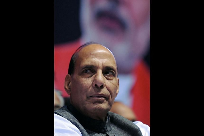 """India's Home Affairs Minister Rajnath Singhon Saturday accused Pakistani """"state actors"""" of attempting to destabilise India, reiterating an accusation commonly levelled by the South Asian giant at its northern Muslim neighbour. -- PHOTO: AFP"""