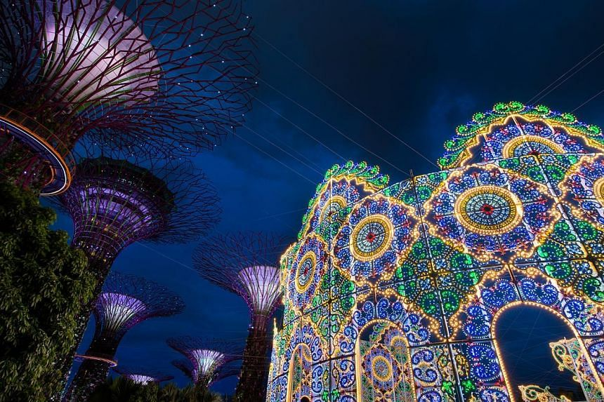 The Spalliera, the largest Luminarie light structure at Christmas Wonderland @ Gardens by the Bay.-- PHOTO: CHRISTMAS WONDERLAND @ GARDENS BY THE BAY