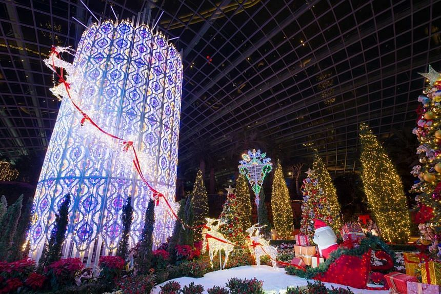 Yuletide in the Flower Dome at night.-- PHOTO: CHRISTMAS WONDERLAND @ GARDENS BY THE BAY