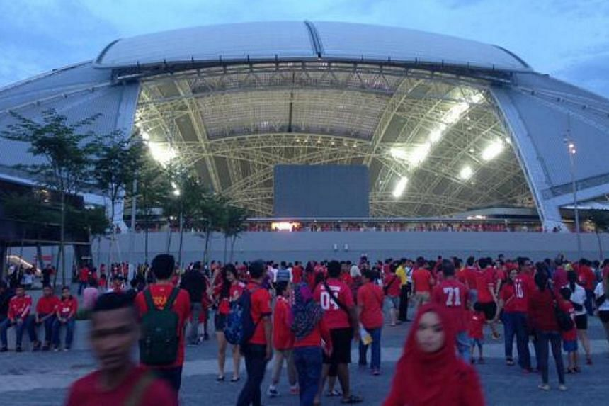 The Sports Hub dome shines bright before the start of the Causeway Clasico. -- PHOTO: @STSPORTSDESK/TWITTER