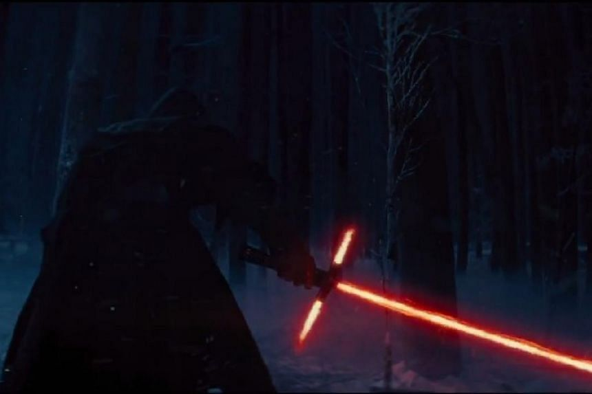 A screenshot from a new trailer for the movie Star Wars: The Force Awakens. Star Wars fans got their first glimpse on Friday of the space saga's eagerly awaited next installment, but will have to wait a year before the full film is released