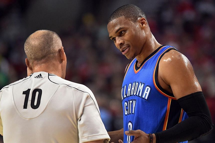 The struggling Oklahoma City Thunder gained a massive boost with their All-Star point guard Russell Westbrook (above, in October 2014) set to make his return from injury against the New York Knicks on Friday. -- PHOTO: AFP