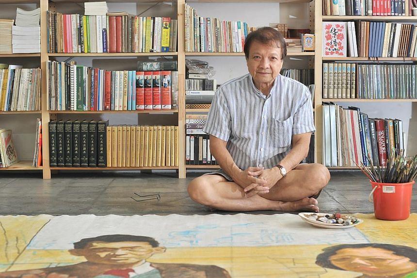 Local artist Tan Swie Hian at his Telok Kurau studio in 2013. -- PHOTO: ST FILE