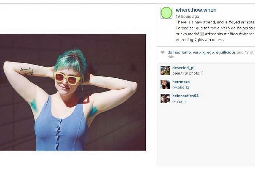 A new trend has emerged among women - growing their armpit hair and colouring it bright. -- PHOTO: SCREENGRAB FROM INSTAGRAM