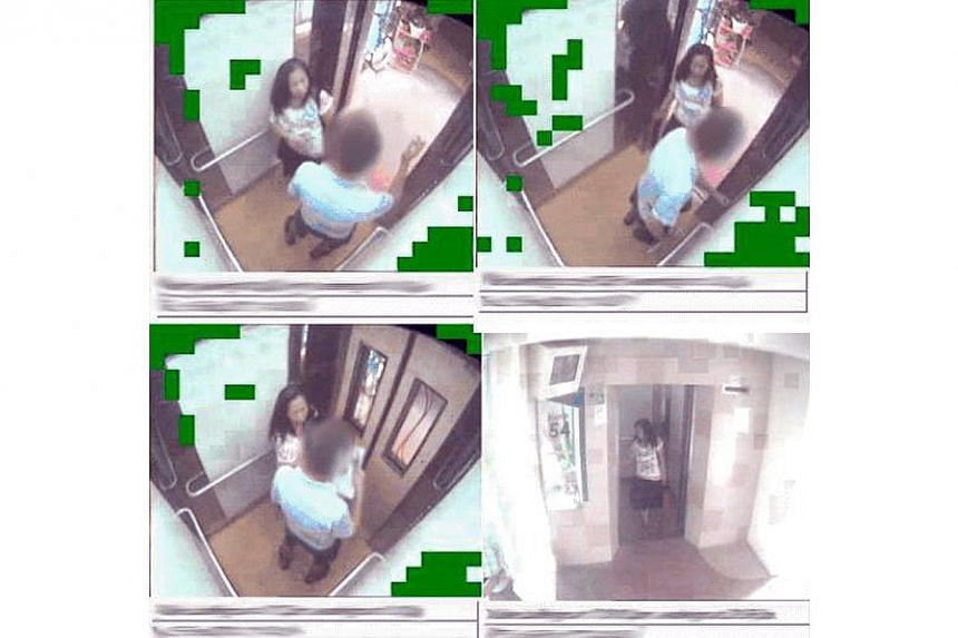 Images from a close-circuit television (CCTV) showing a female pickpocket who got away with more than $2,000 cash from 10 elderly men. -- PHOTO: SINGAPORE POLICE FORCE