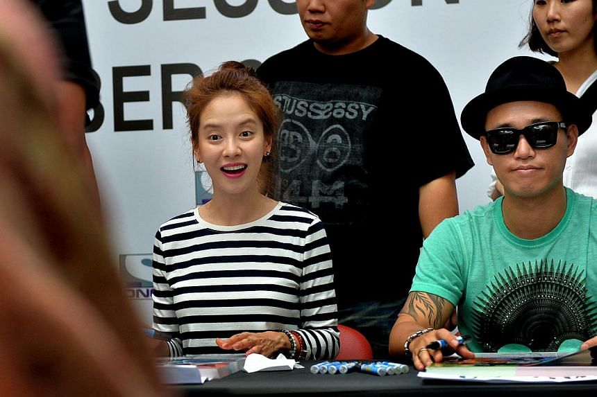 Running Man cast members Gary and Song Ji Hyo, called the Monday Couple, are often teased by their colleagues for being attracted to each other. -- PHOTO: THE NEW PAPER