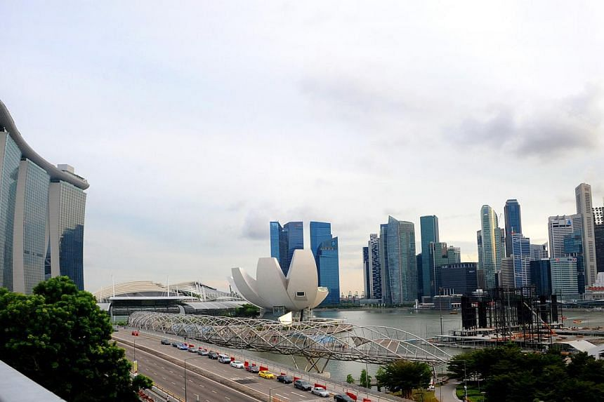The view of the Singapore skyline from the Benjamin Sheares bridge. An interactive 3-D map of Singapore which shows the nation's aboveground structures such as trees, buildings and carpark lots will be available by 2017. -- PHOTO: NP FILE