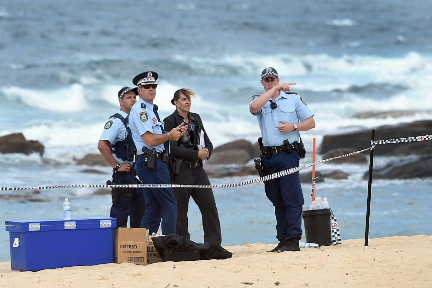 Police organise a search of the sand dunes after children playing at a Sydney beach on Nov 30, 2014, stumbled across the body of a baby buried under the sand, Australian investigators said, just a week after a newborn was found crying at the bottom o