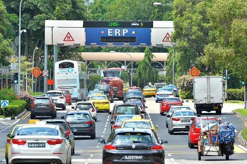 Vehicles heading towards the Electronic Road Pricing (ERP) gantry at Havelock Road. The Republic was named one of the world's least congested major cities, thanks to its ERP system. -- PHOTO: ST FILE