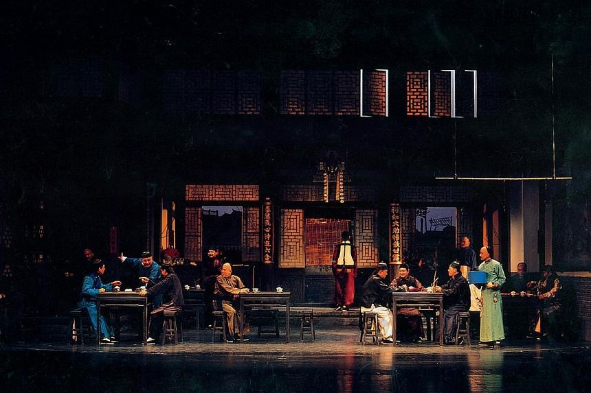 A scene from Teahouse by the Beijing People's Art Theatre.Audiences will get another whiff of the clatter and bustle of the Yu Tai Teahouse of imperial Beijing come next March. -- PHOTO: ESPLANADE - THEATRES ON THE BAY