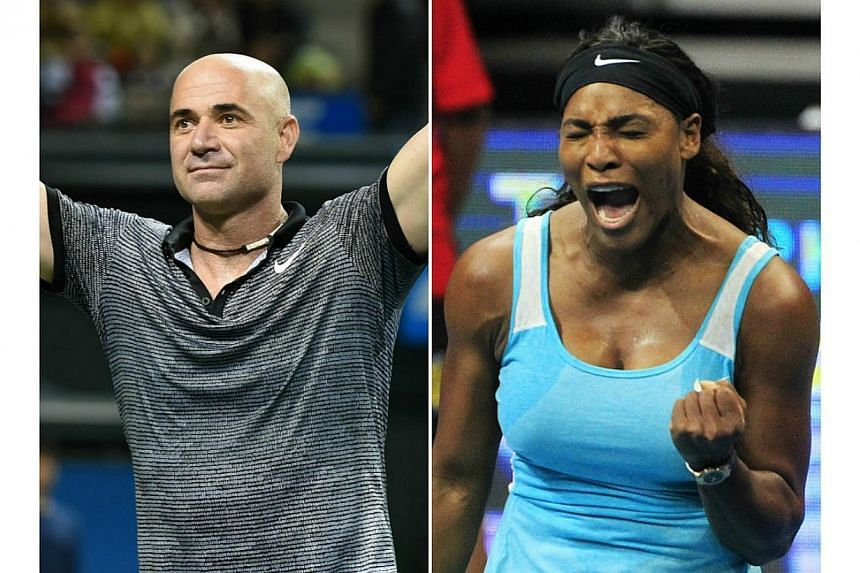 Andre Agassi (left) and Serena Williams are pencilled in for all three days of the Singapore leg of the Coca-Cola International Premier Tennis League (IPTL), which starts on Tuesday at the Singapore Indoor Stadium. -- PHOTOS: AFP, REUT