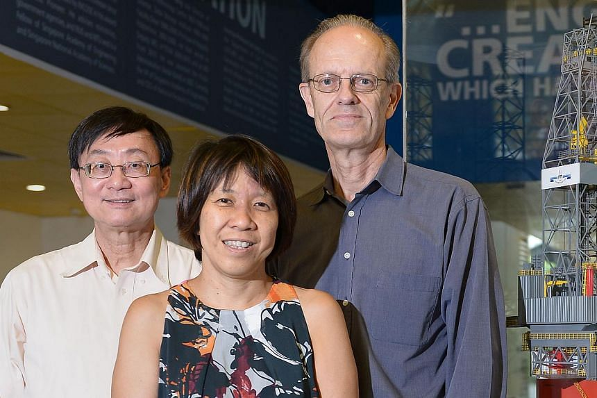 Prof Wong Sek Man (left) and Dr Serena Teo of the Tropical Marine Science Institute and Prof Staffan Kjelleberg of the Singapore Centre on Environmental Life Sciences Engineering are involved in the World Harbour Project to protect native marine spec