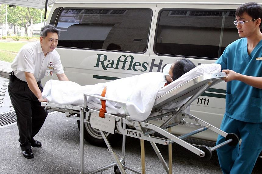 From the middle of next year, Raffles Hospital's emergency department will receive patients with non-critical conditions from Singapore Civil Defence Force (SCDF) ambulances. -- PHOTO: ST FILE