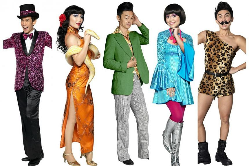 (From left to right) ActorsShane Mardjuki,Seong Hui Xuan, Mark Lee,Joanna Dong andHossan Leong in Great World Cabaret, a collaboration between Resorts World Sentosa and Dream Academy.-- PHOTO: DREAM ACADEMY