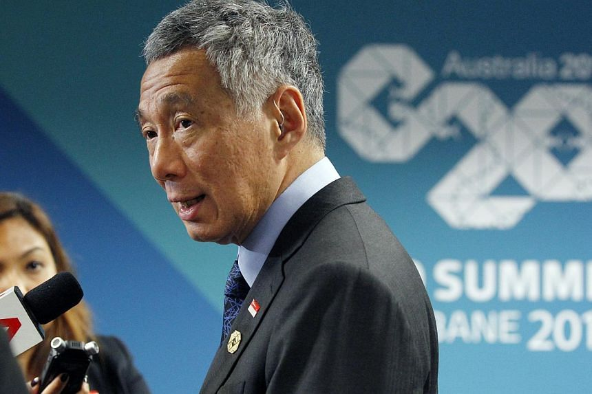 Prime Minister Lee Hsien Loong speaks to members of the Singapore media during a wrap-on session at the G20 leaders Summit in Brisbane on Nov 16, 2014. The Republichas been invited by Turkey to attend the annual meeting of the world's top econo