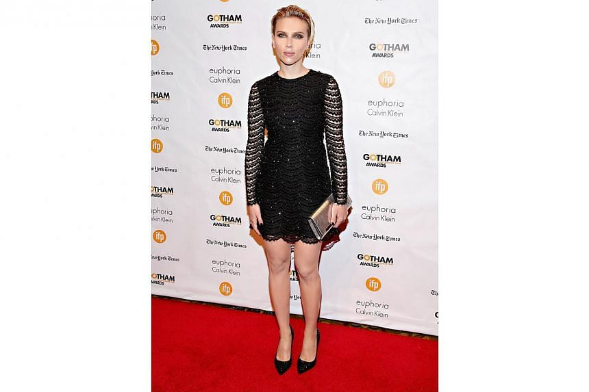 Actress Scarlett Johansson at the 24th Annual Gotham Independent Film Awards on Dec 1, 2014 in New York City. Johansson and French journalist Romain Dauriac married on Oct 1 in Montana, reports People magazine.-- PHOTO: AFP