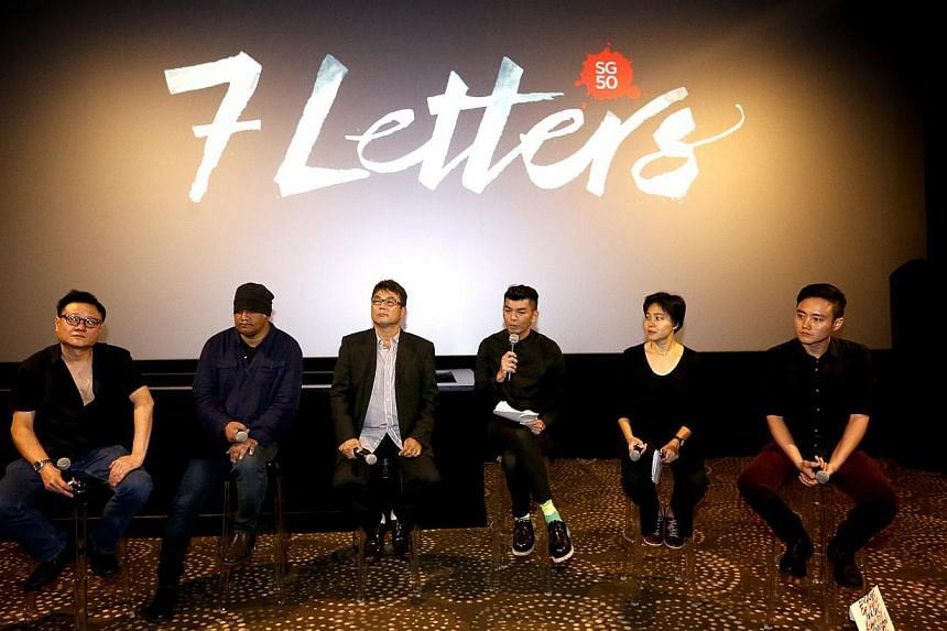 (From left)Eric Khoo,K Rajagopal, Jack Neo, Royston Tan, Tan Pin Pin andBoo Junfeng ata press conference on Tuesday for7 Letters, acompendium of works by seven of Singapore's most well-recognised film-makers, made