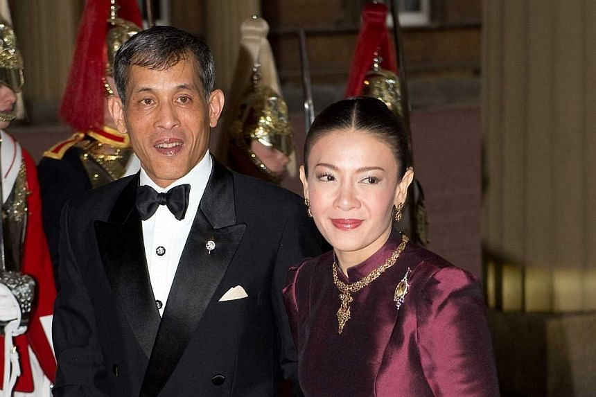 Crown Prince Vajiralongkom of Thailand and wife Princess Srirasmi attend a dinner for foreign Sovereigns hosted by The Prince of Wales and The Duchess of Cornwall to commemorate The Queen's Diamond Jubilee at Buckingham Palace on May 18 2012. Tw