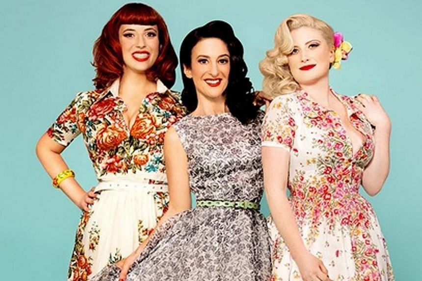 Vocal and percussion trio Kalakan's Thierry Biscary, Jean Michel Bereau and Xan Errotabe and The Puppini Sisters, comprising (from left) Emma Smith, Marcella Puppini and Kate Mullins. -- PHOTO: THE ESPLANADE