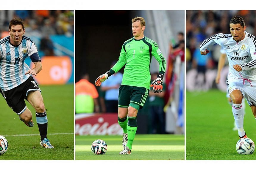 (From left) Messi, Neuer and Ronaldo are contending for the Ballon d'Or. -- PHOTO: AFP