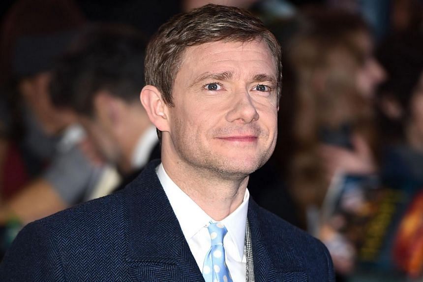 English actor Martin Freeman poses for pictures on the red carpet upon arrival for the world premiere of The Hobbit: The Battle Of The Five Armies in central London on Dec 1, 2014. -- PHOTO: AFP