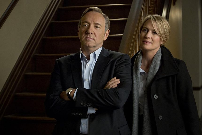 The third season of the award-winning political drama House of Cards starring Kevin Spacey (left) and Robin Wright is to debut on Feb 27, 2015, on streaming video giant Netflix. -- PHOTO: SONY PICTURES TELEVISION