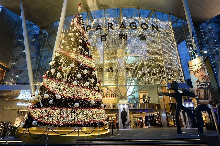 The Paragon's Christmas tree, one of the many festive trees that have sprung up around town this yuletide season. -- PHOTO: PARAGON