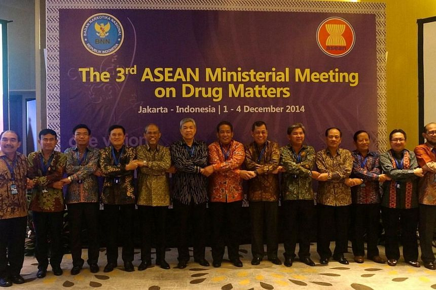 Singapore Head of Delegation, Senior Minister of State Masagos Zulkifli (fifth from left) at the third ASEAN Ministerial Meeting on Drug Matters. -- PHOTO: MINISTRY OF HOME AFFAIRS