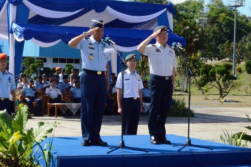 Republic of Singapore Air Force (RSAF) Chief of Air Force, Major-General Hoo Cher Mou (right), and Indonesian Air Force (TNI-AU) Chief of Staff, Air Chief Marshal Ida Bagus Putu Dunia, officiating at the closing ceremony of Exercise Elang Indopura 20