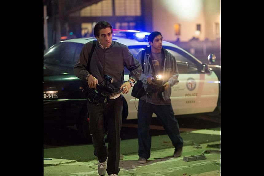 Jake Gyllenhaal (far left) is a nightcrawler while Riz Ahmed (left) plays the only character with a conscience.