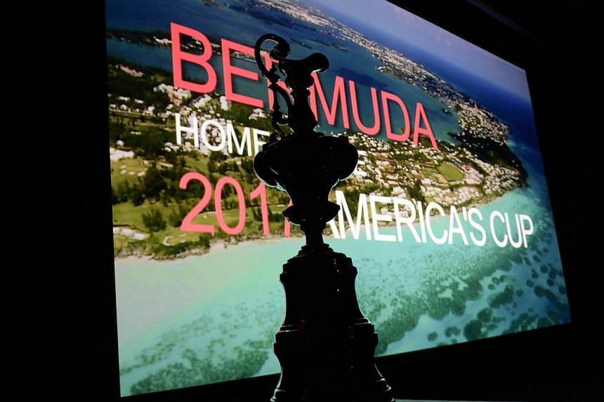 The America's Cup Trophy sits in front of a video screen during a press conference in New York on Tuesday to announce the site of the 35th America's Cup. America's Cup organisers have announced that Bermuda has beaten San Diego for the right to host