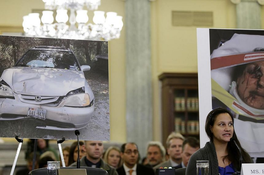 """US Air Force First Lieutenant Stephanie Erdman testifying before a Senate hearing on """"Examining Takata Airbag Defects and the Vehicle Recall Process"""" in Washington in Nov 20, 2014.-- PHOTO: REUTERS"""