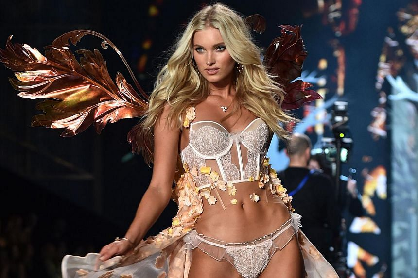 Swedish model Elsa Hosk on the runway during the 2014 Victoria's Secret Fashion Show at Earl's Court exhibition centre in London on Dec 2, 2014. -- PHOTO: AFP