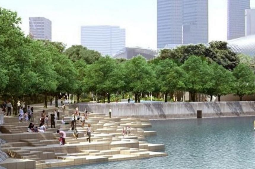 New stepped plazas will be introduced along the edge of the Singapore River, which will allow visitors to sit and enjoy the waterfront views at Queen Elizabeth Walk and in front of the Asian Civilisations Museum. -- PHOTO: URA