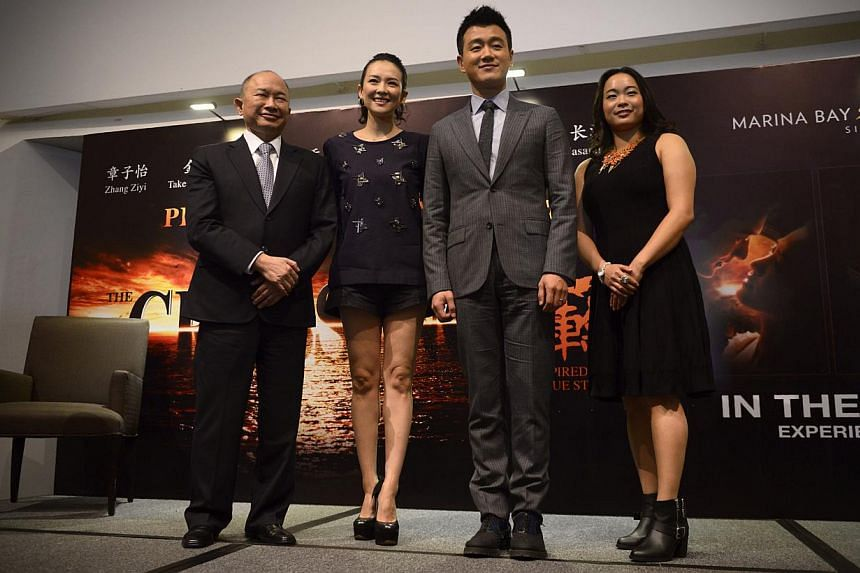 Pictured (from left) are director John Woo, Actress Zhang Ziyi, actor Tong Dawei and John Woo's daughter Angeles Woo at the press conference of the movie The Crossing, which is being screened as part of the Singapore International Film Festival on De
