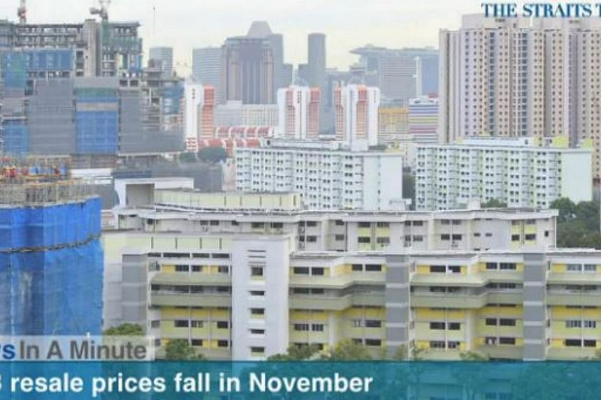 In today's News In A Minute, we look at how overall Housing Board resale flats fell by 0.8 per cent to a 40-month low. -- PHOTO: SCREENGRAB FROM RAZORTV