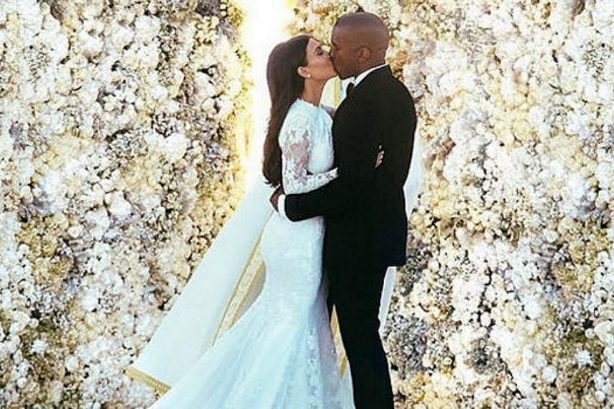 A tasteful image of Kim Kardashian and Kanye West exchanging a wedding kiss was the most-liked Instagram of 2014, the photo-oriented social media website said Wednesday. -- PHOTO: INSTAGRAM