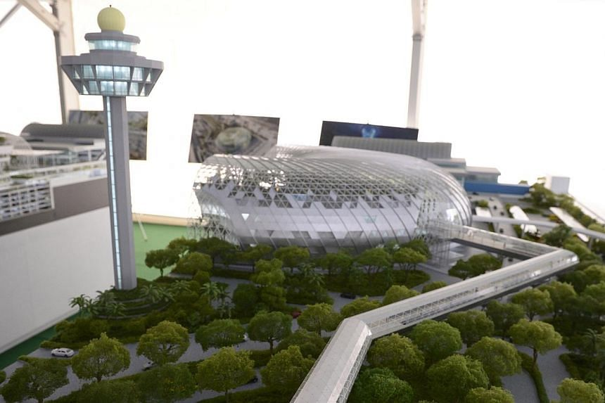 A life-size model of Jewel Changi Airport, the mixed-use complex featuring attractions, retail offerings,a hotel and facilities for airport operations on Dec 5, 2014. -- ST PHOTO: MARK CHEONG
