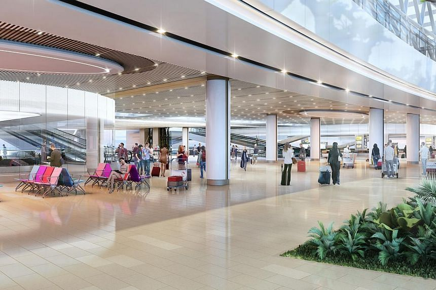 Artist Impression: T1 Arrival Hall. -- PHOTO: JEWEL CHANGI AIRPORT DEVELOPMENT