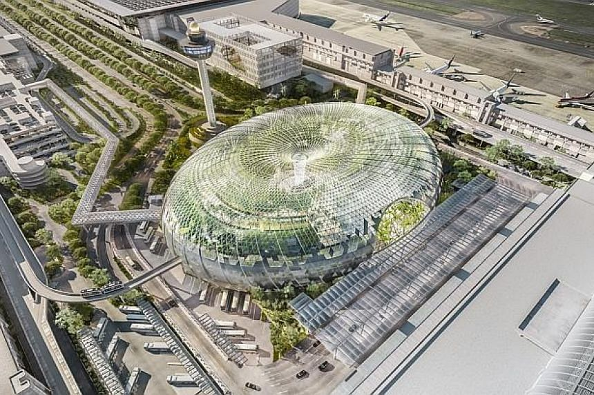 Artist Impression: Aerial view of Jewel Changi Airport. -- PHOTO: JEWEL CHANGI AIRPORT DEVELOPMENT