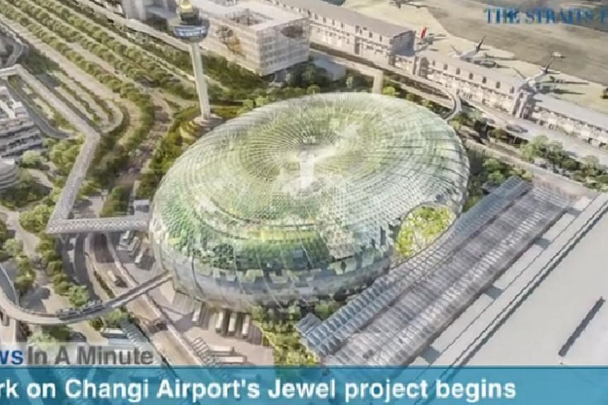 In today's The Straits Times News In A Minute video, we look at the work on Changi Airport's $1.7 billion Jewel project and the expansion of Terminal 1 which began on Friday. -- PHOTO: SCREENGRAB FROM RAZORTV